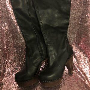 Spector leather knee-high wood heel boot